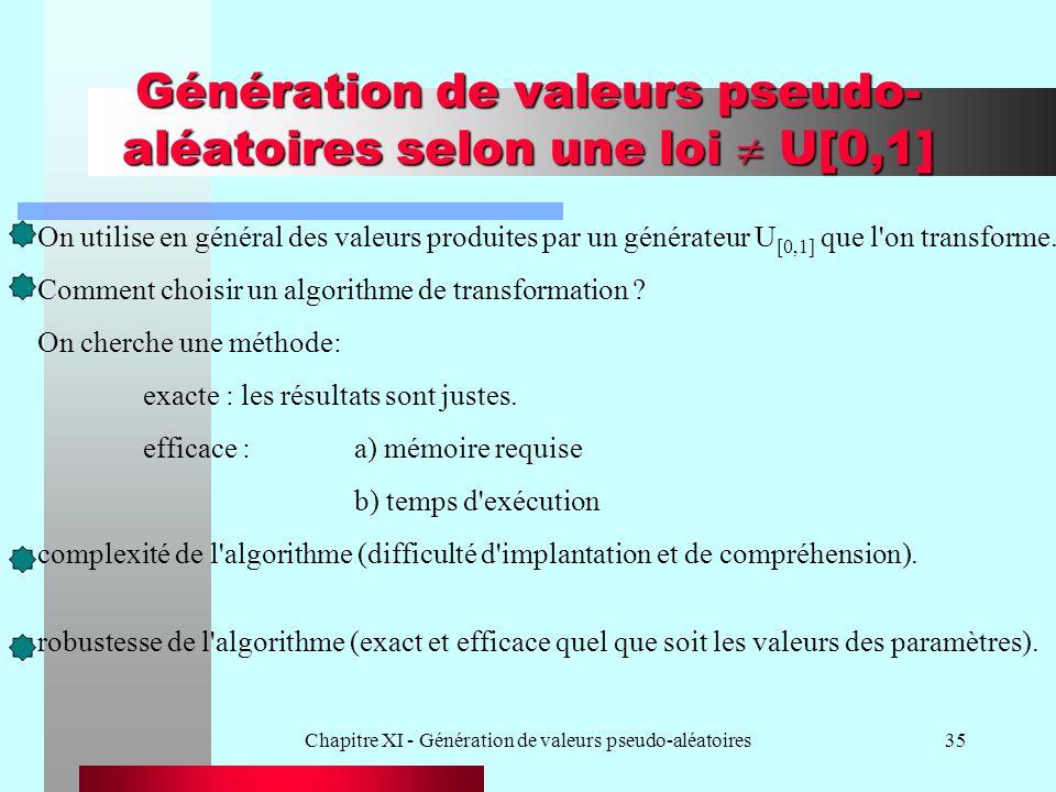 Chapitre XI - Génération de valeurs pseudo-aléatoires35 Génération de valeurs pseudo- aléatoires selon une loi U[0,1] On utilise en général des valeur