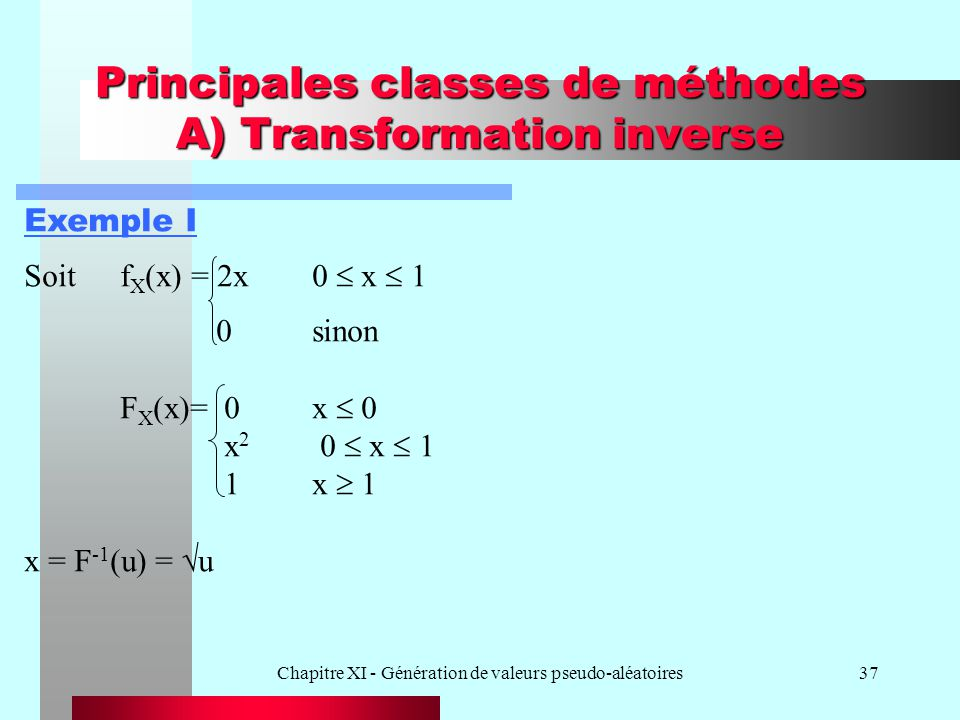 Chapitre XI - Génération de valeurs pseudo-aléatoires37 Principales classes de méthodes A) Transformation inverse Exemple I Soitf X (x) = 2x0 x 1 0sin