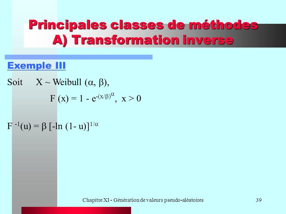 Chapitre XI - Génération de valeurs pseudo-aléatoires39 Principales classes de méthodes A) Transformation inverse Exemple III SoitX ~ Weibull ( F (x)