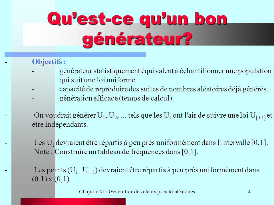 Chapitre XI - Génération de valeurs pseudo-aléatoires4 Quest-ce quun bon générateur? -Objectifs : -générateur statistiquement équivalent à échantillon