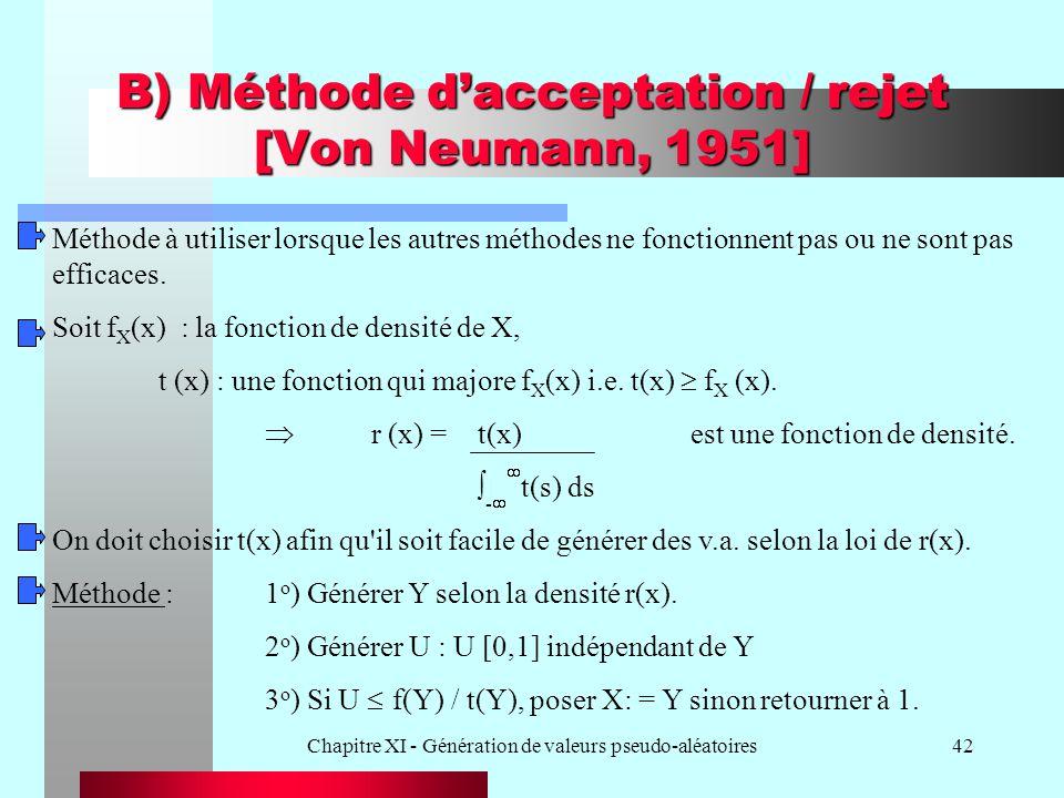 Chapitre XI - Génération de valeurs pseudo-aléatoires42 B) Méthode dacceptation / rejet [Von Neumann, 1951] Méthode à utiliser lorsque les autres méth