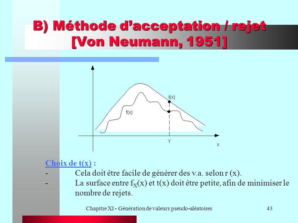 Chapitre XI - Génération de valeurs pseudo-aléatoires43 B) Méthode dacceptation / rejet [Von Neumann, 1951] Choix de t(x) : -Cela doit être facile de