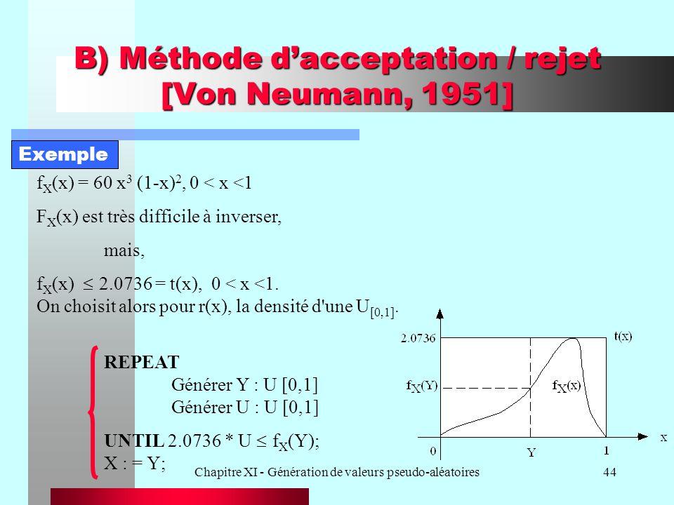 Chapitre XI - Génération de valeurs pseudo-aléatoires44 B) Méthode dacceptation / rejet [Von Neumann, 1951] f X (x) = 60 x 3 (1-x) 2, 0 < x < 1 F X (x