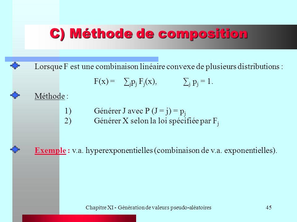 Chapitre XI - Génération de valeurs pseudo-aléatoires45 C) Méthode de composition Lorsque F est une combinaison linéaire convexe de plusieurs distribu