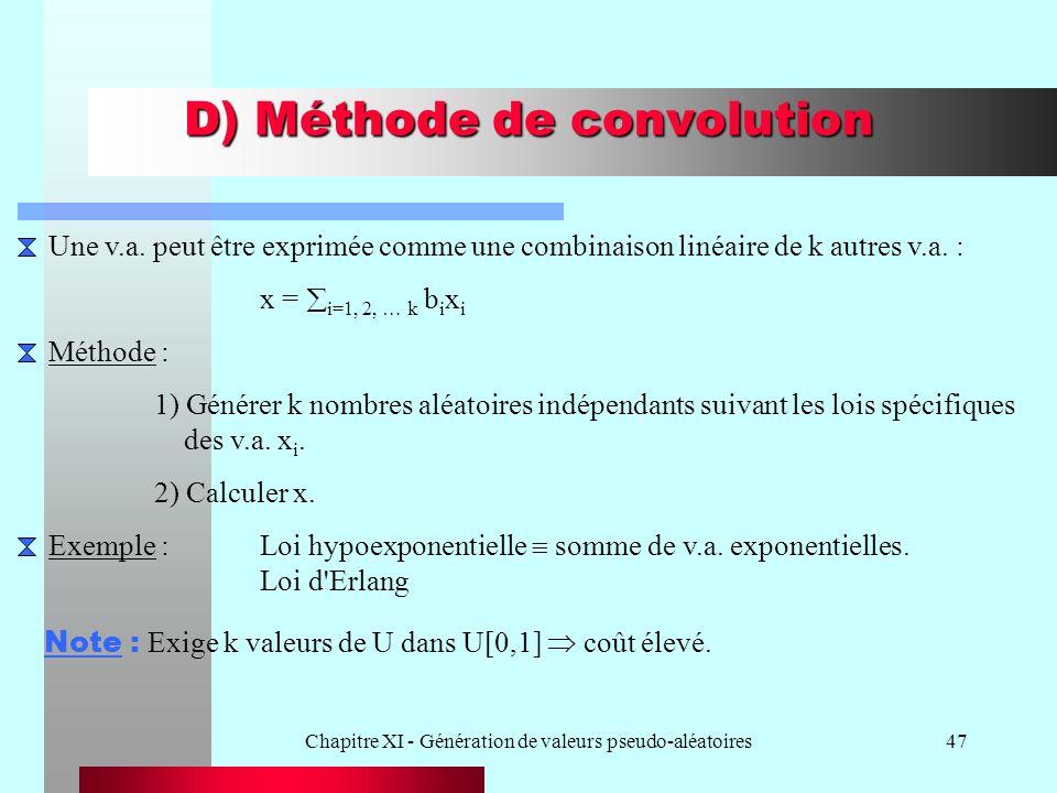 Chapitre XI - Génération de valeurs pseudo-aléatoires47 D) Méthode de convolution Une v.a. peut être exprimée comme une combinaison linéaire de k autr