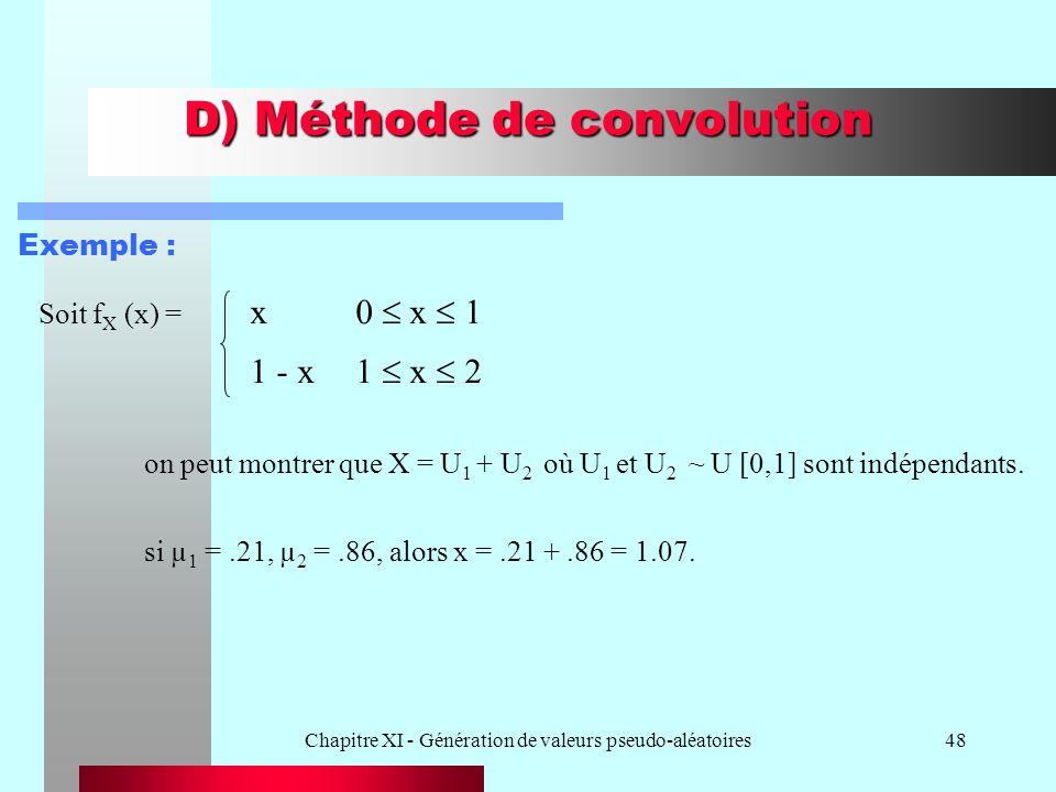 Chapitre XI - Génération de valeurs pseudo-aléatoires48 D) Méthode de convolution Soit f X (x) = x0 x 1 1 - x1 x 2 on peut montrer que X = U 1 + U 2 o