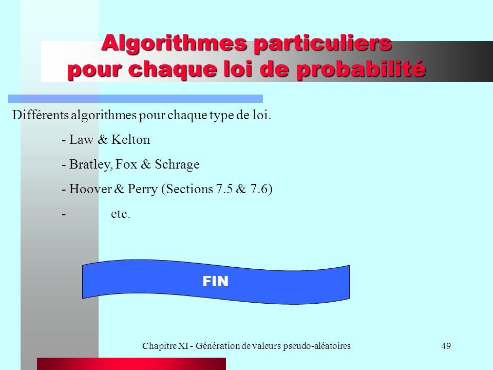 Chapitre XI - Génération de valeurs pseudo-aléatoires49 Algorithmes particuliers pour chaque loi de probabilité Différents algorithmes pour chaque typ