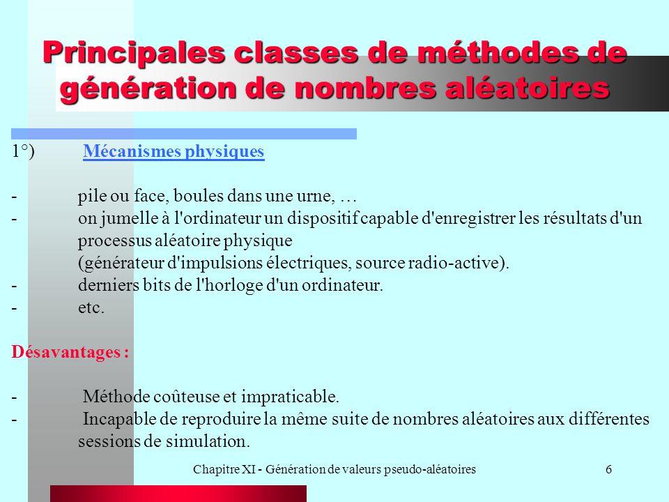Chapitre XI - Génération de valeurs pseudo-aléatoires17 Exemple -m = 8, a = 5, c = 3, s o = 7 s i = (5s i-1 + 3) MOD 8 s i 76103254… U i 7/83/41/803/81/45/81/2...