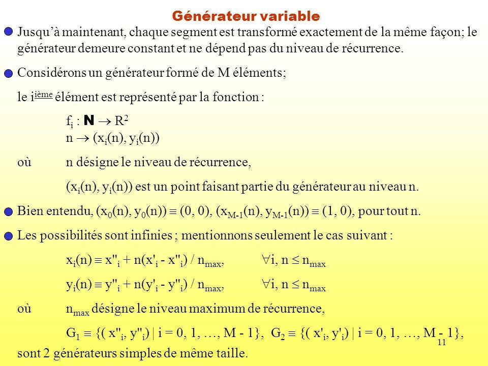 11 Générateur variable Jusquà maintenant, chaque segment est transformé exactement de la même façon; le générateur demeure constant et ne dépend pas d