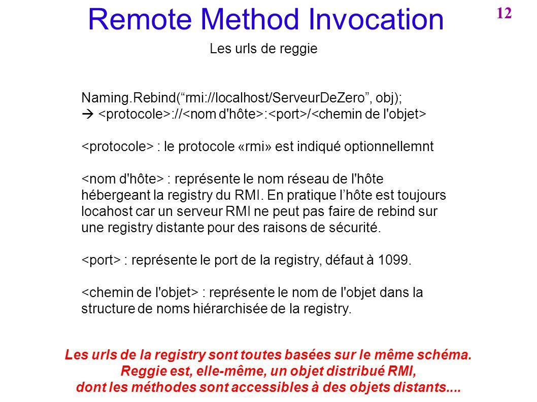 Remote Method Invocation Naming.Rebind(rmi://localhost/ServeurDeZero, obj); :// : / : le protocole «rmi» est indiqué optionnellemnt : représente le no