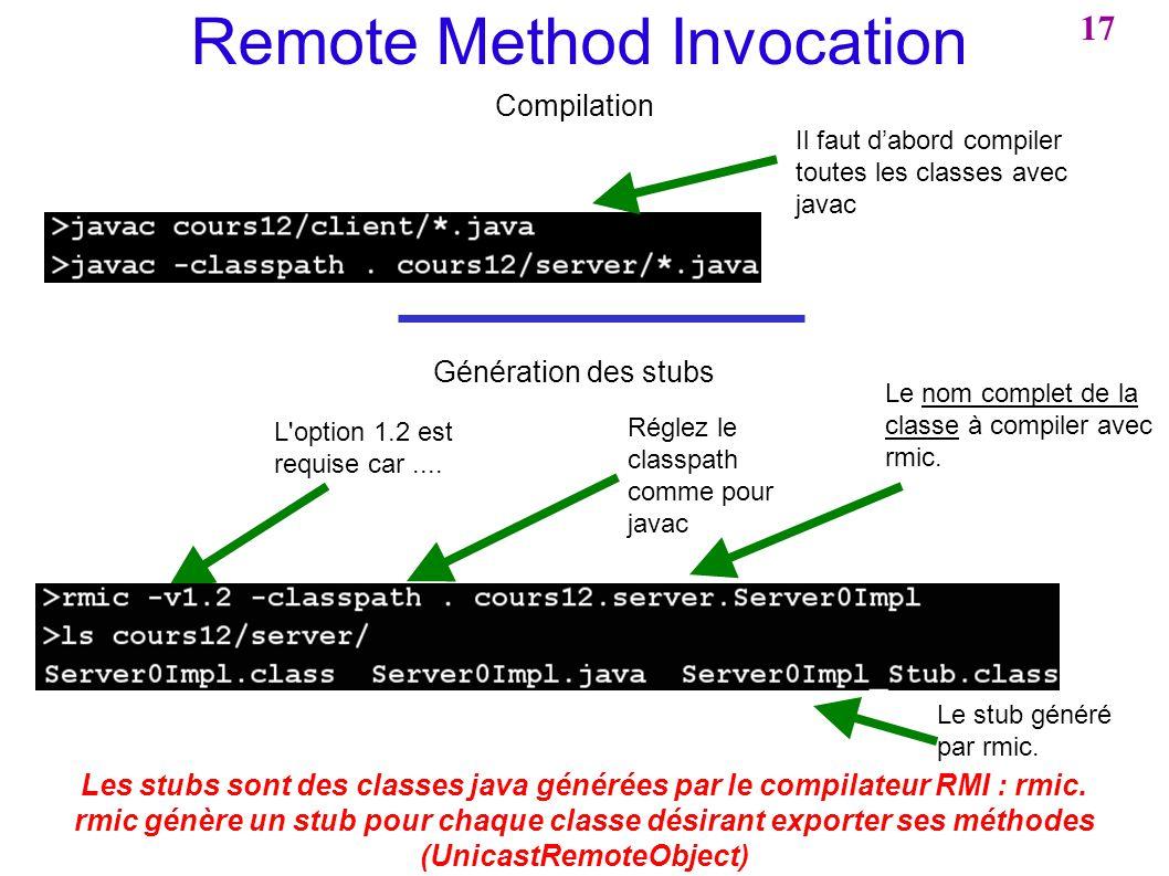Remote Method Invocation Compilation Les stubs sont des classes java générées par le compilateur RMI : rmic. rmic génère un stub pour chaque classe dé