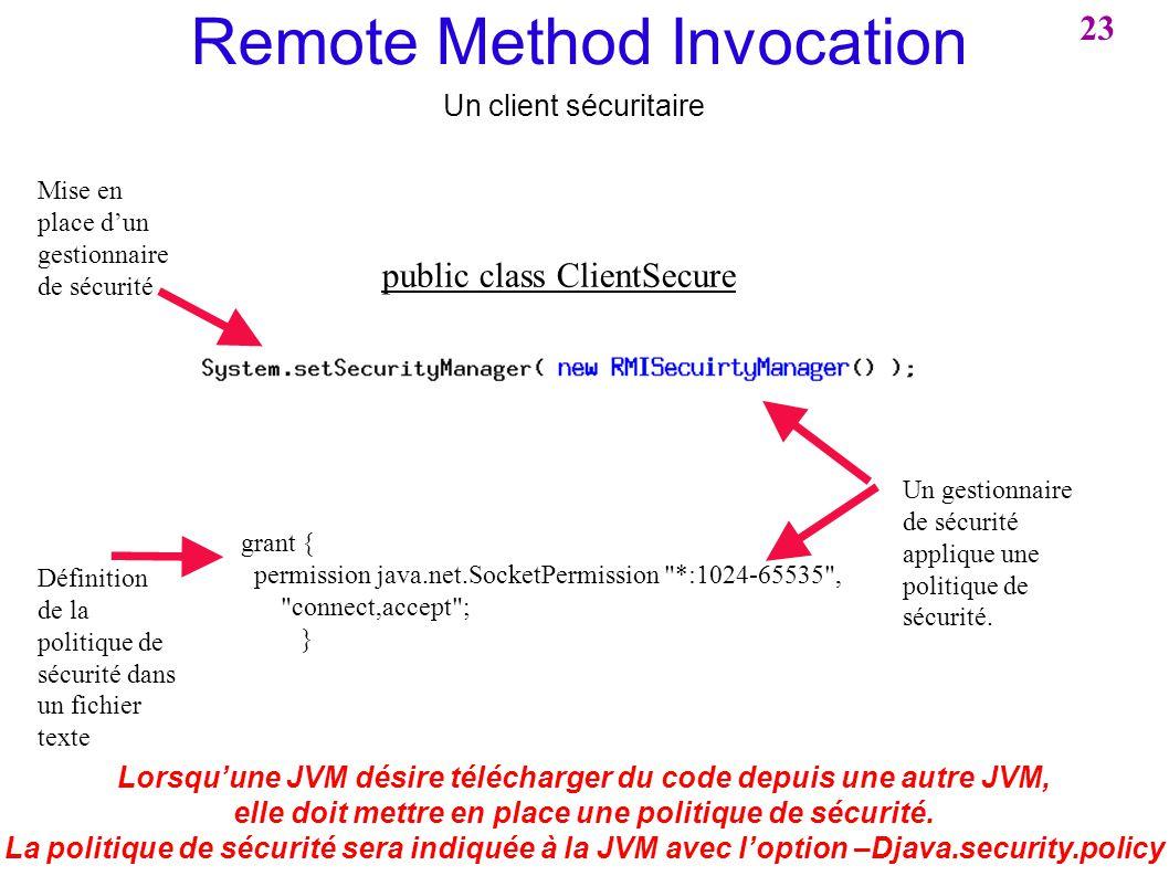 Remote Method Invocation Un client sécuritaire Lorsquune JVM désire télécharger du code depuis une autre JVM, elle doit mettre en place une politique