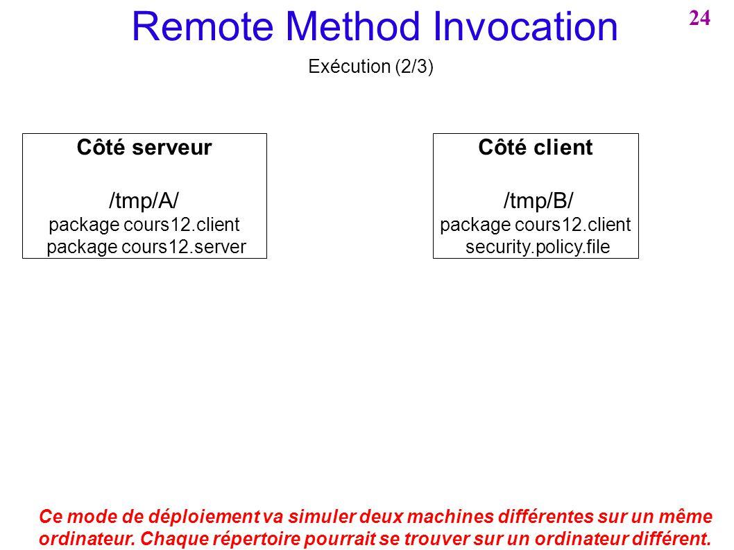 Remote Method Invocation Exécution (2/3) Ce mode de déploiement va simuler deux machines différentes sur un même ordinateur. Chaque répertoire pourrai