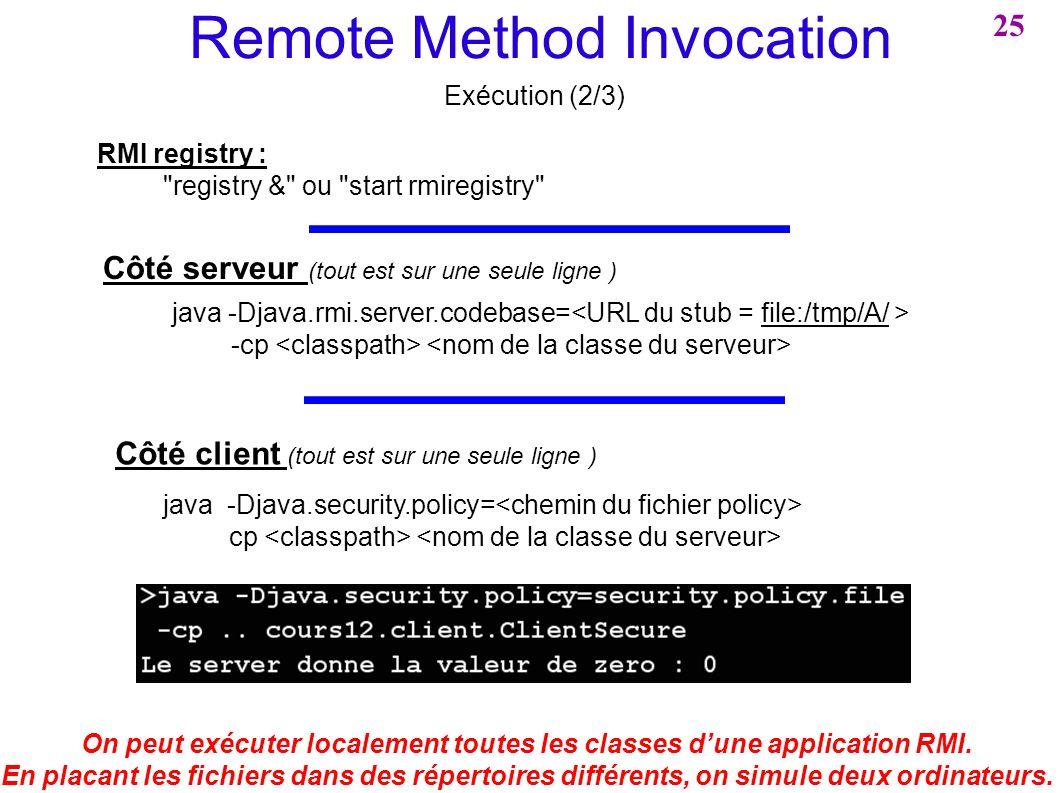 Remote Method Invocation Exécution (2/3) On peut exécuter localement toutes les classes dune application RMI. En placant les fichiers dans des réperto
