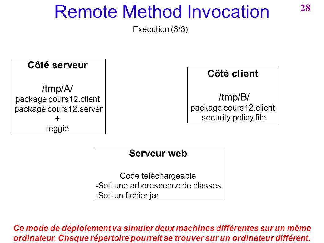 Remote Method Invocation Exécution (3/3) Ce mode de déploiement va simuler deux machines différentes sur un même ordinateur. Chaque répertoire pourrai