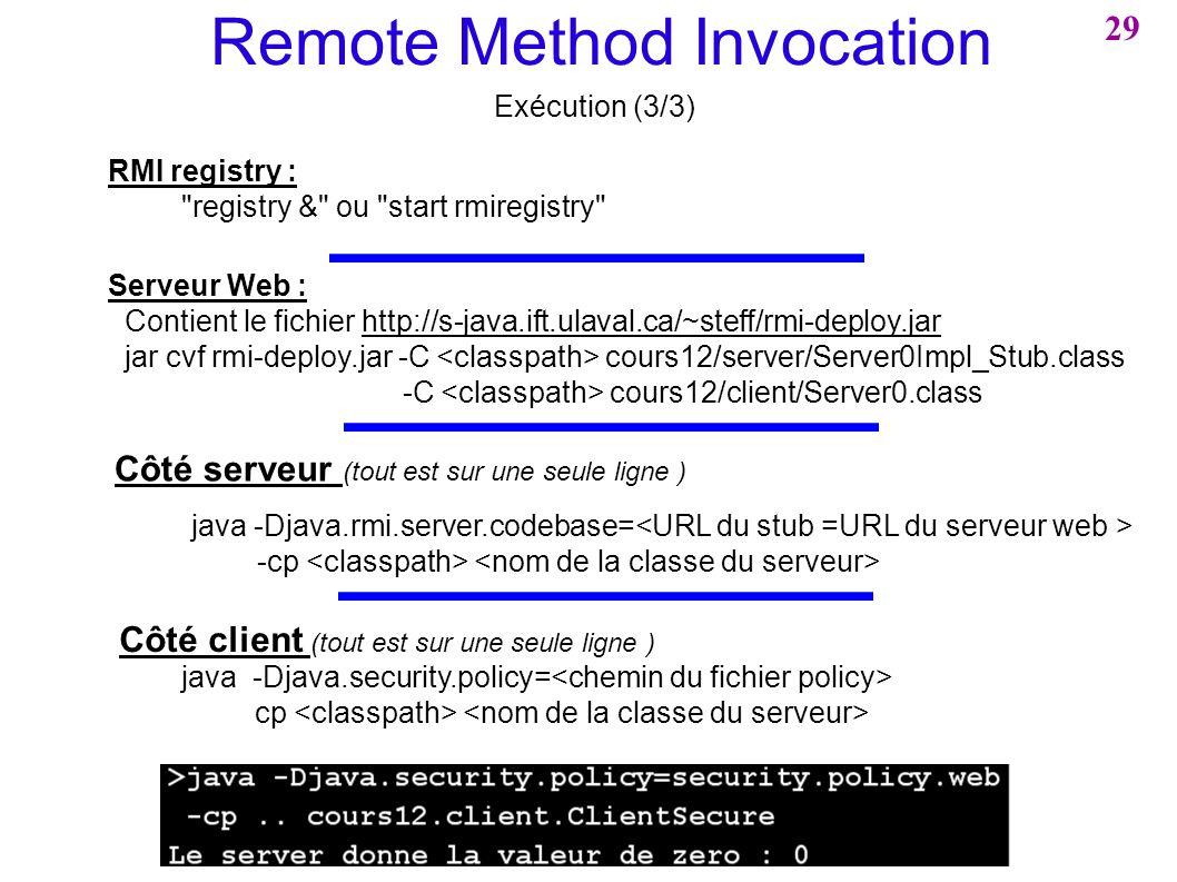 Remote Method Invocation Exécution (3/3) Côté serveur (tout est sur une seule ligne ) java -Djava.rmi.server.codebase= -cp RMI registry :