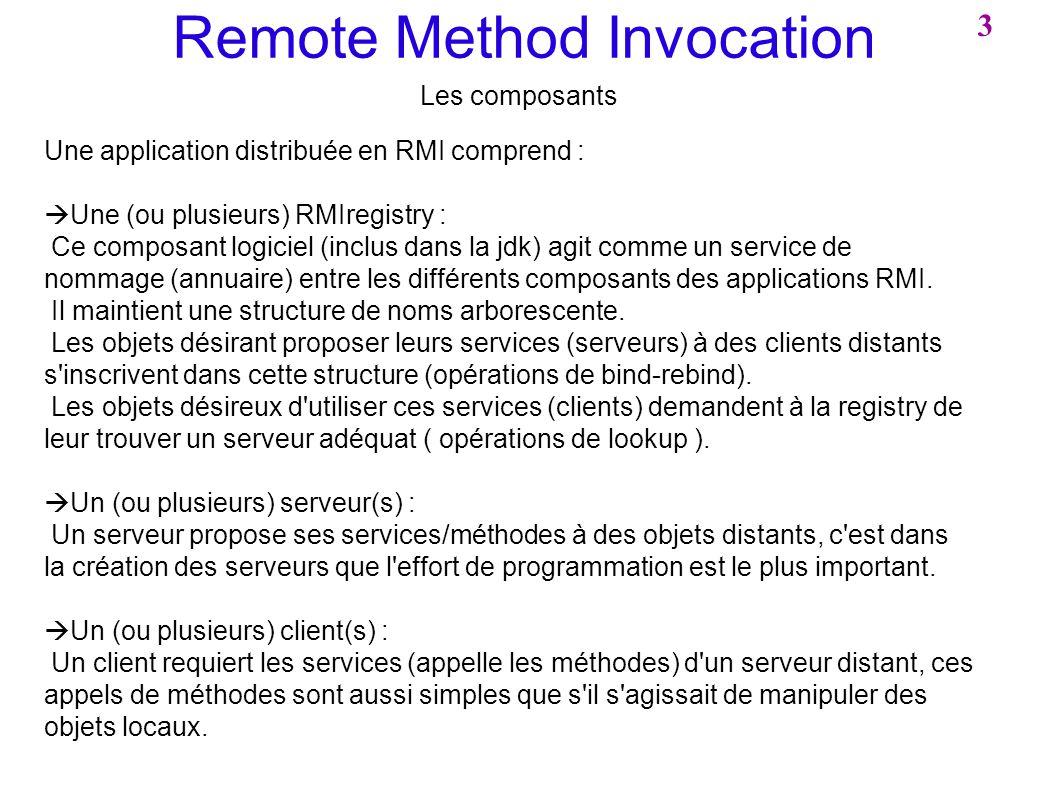 Remote Method Invocation Les composants Une application distribuée en RMI comprend : Une (ou plusieurs) RMIregistry : Ce composant logiciel (inclus da
