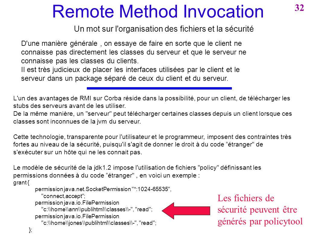 Remote Method Invocation Un mot sur l'organisation des fichiers et la sécurité D'une manière générale, on essaye de faire en sorte que le client ne co