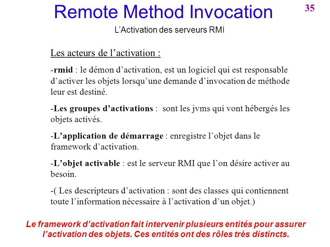 Remote Method Invocation LActivation des serveurs RMI 35 Les acteurs de lactivation : -rmid : le démon dactivation, est un logiciel qui est responsabl