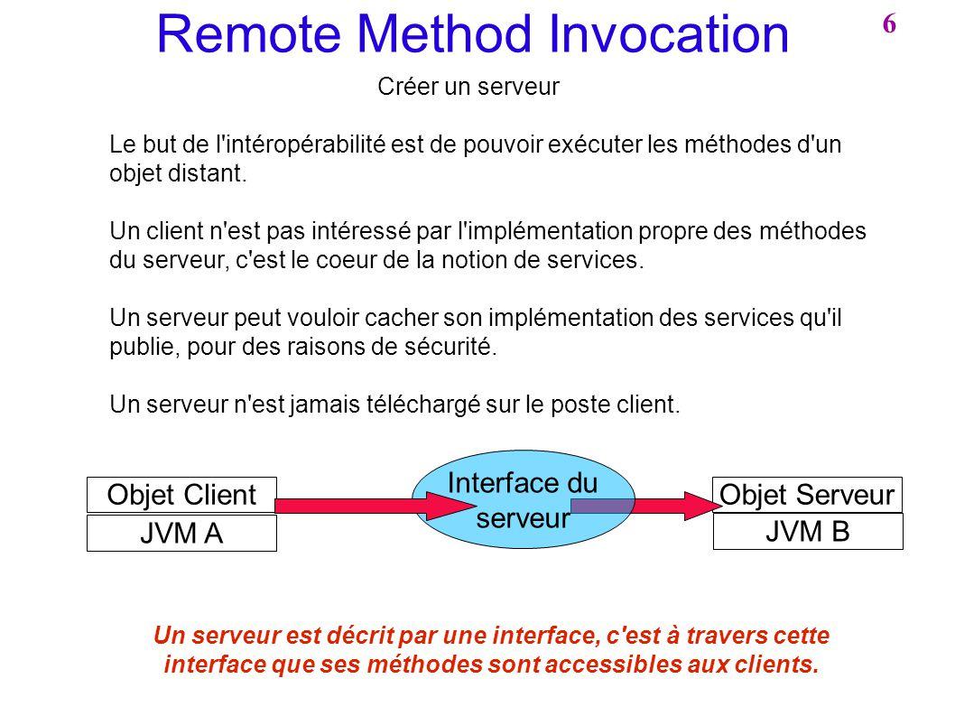 Objet Serveur Remote Method Invocation Créer un serveur Le but de l'intéropérabilité est de pouvoir exécuter les méthodes d'un objet distant. Un clien