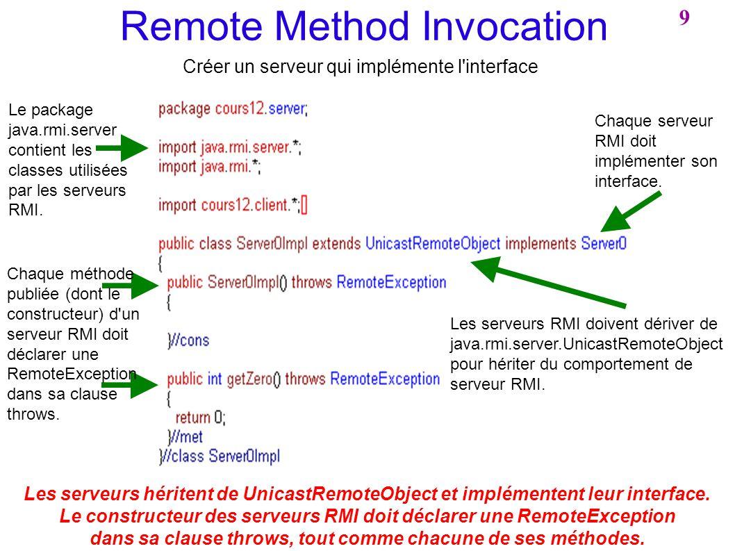 Remote Method Invocation Créer un serveur qui implémente l'interface Le package java.rmi.server contient les classes utilisées par les serveurs RMI. C