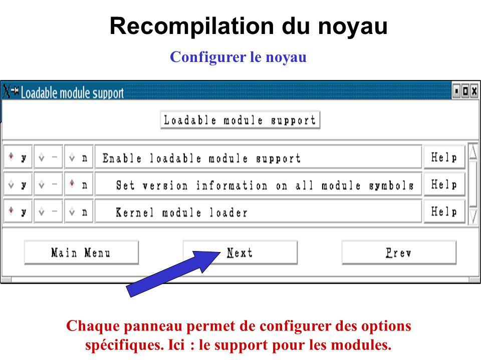 Recompilation du noyau Configurer le noyau Chaque panneau permet de configurer des options spécifiques. Ici : le support pour les modules.