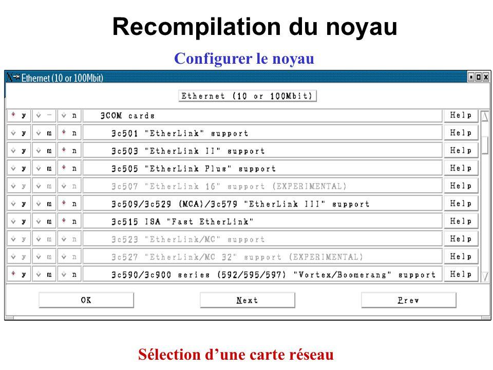 Recompilation du noyau Configurer le noyau Sélection dune carte réseau