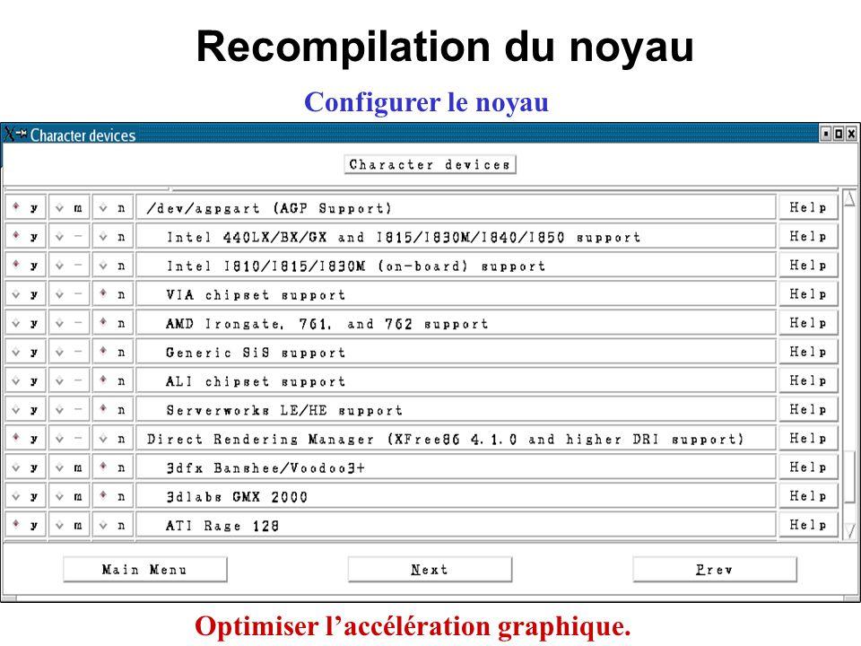 Recompilation du noyau Configurer le noyau Optimiser laccélération graphique.