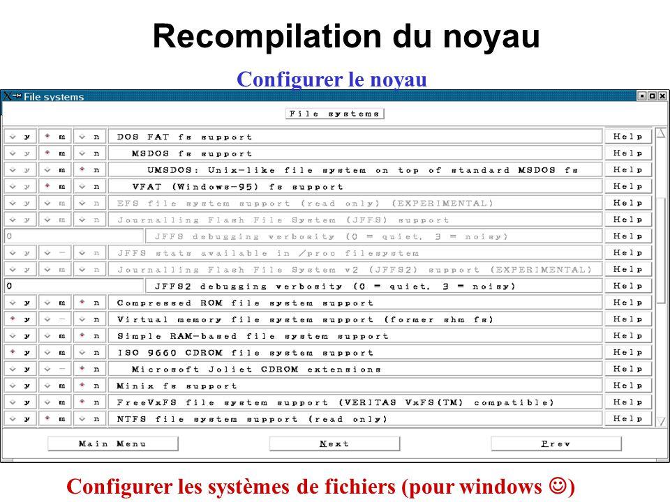 Recompilation du noyau Configurer le noyau Configurer les systèmes de fichiers (pour windows )