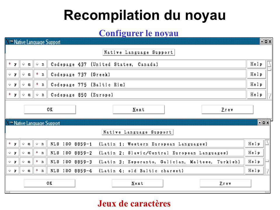Recompilation du noyau Configurer le noyau Jeux de caractères