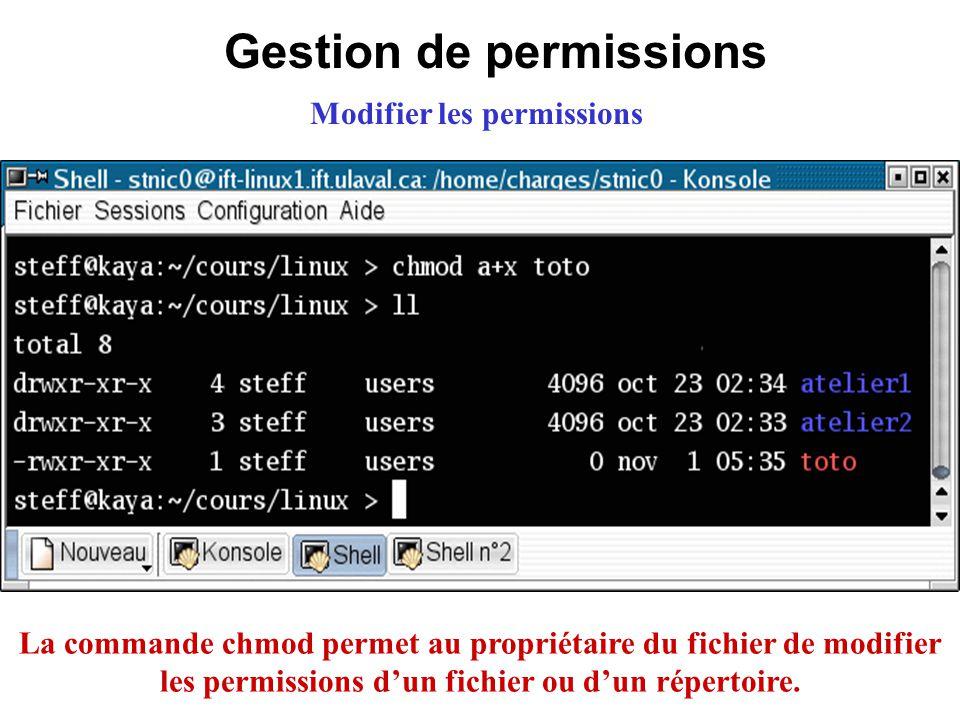 Gestion de permissions Modifier les permissions La commande chmod permet au propriétaire du fichier de modifier les permissions dun fichier ou dun rép