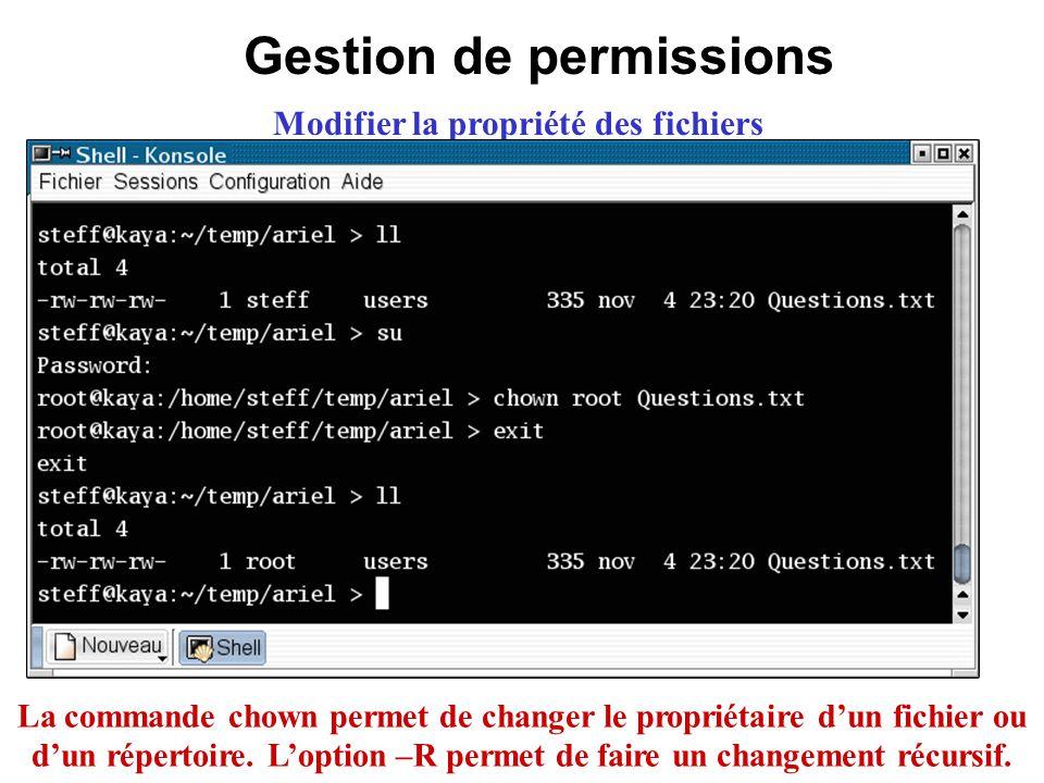 Gestion de permissions Modifier la propriété des fichiers La commande chown permet de changer le propriétaire dun fichier ou dun répertoire. Loption –