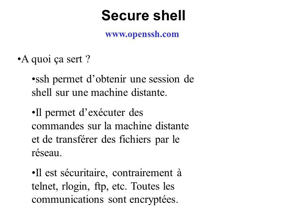 Secure shell www.openssh.com A quoi ça sert ? ssh permet dobtenir une session de shell sur une machine distante. Il permet dexécuter des commandes sur