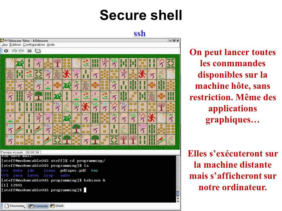 Secure shell ssh On peut lancer toutes les conmmandes disponibles sur la machine hôte, sans restriction. Même des applications graphiques… Elles sexéc