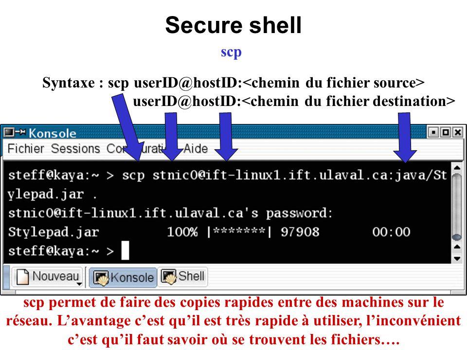 Secure shell scp scp permet de faire des copies rapides entre des machines sur le réseau. Lavantage cest quil est très rapide à utiliser, linconvénien