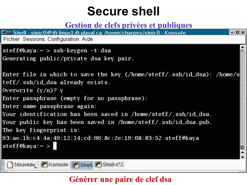 Secure shell Gestion de clefs privées et publiques Générer une paire de clef dsa