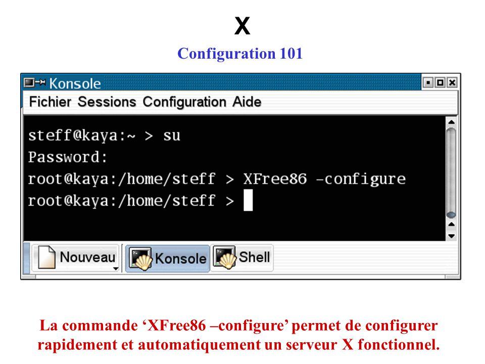 X Configuration 101 La commande XFree86 –configure permet de configurer rapidement et automatiquement un serveur X fonctionnel.