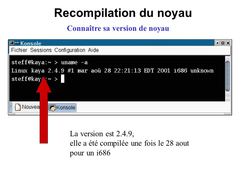 Recompilation du noyau Connaître sa version de noyau La version est 2.4.9, elle a été compilée une fois le 28 aout pour un i686