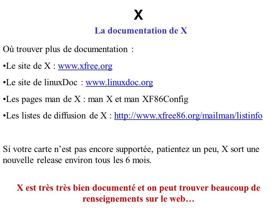 X La documentation de X X est très très bien documenté et on peut trouver beaucoup de renseignements sur le web… Où trouver plus de documentation : Le