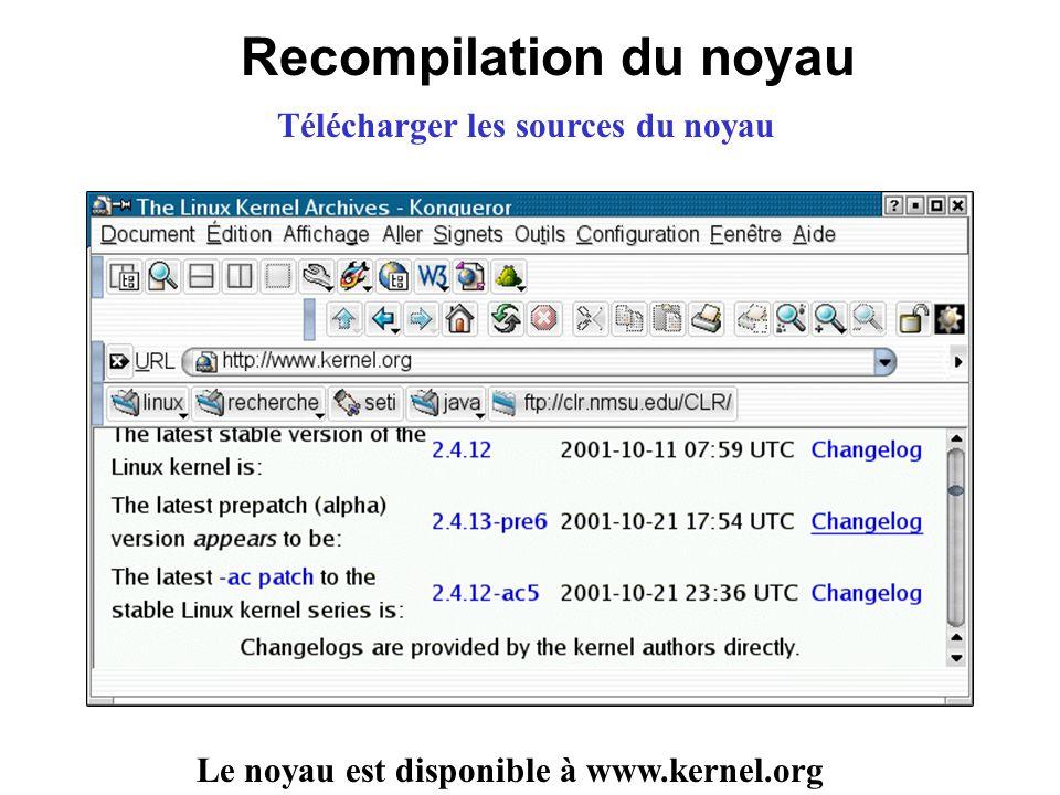Recompilation du noyau Le noyau est disponible à www.kernel.org Télécharger les sources du noyau