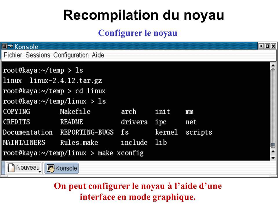 Recompilation du noyau Configurer le noyau On peut configurer le noyau à laide dune interface en mode graphique.