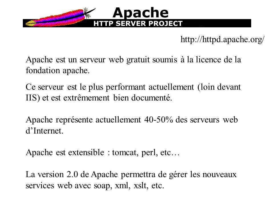 http://httpd.apache.org/ Apache est un serveur web gratuit soumis à la licence de la fondation apache. Ce serveur est le plus performant actuellement
