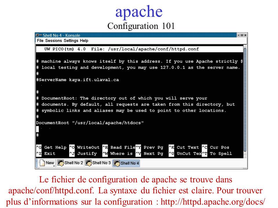 apache Configuration 101 Le fichier de configuration de apache se trouve dans apache/conf/httpd.conf. La syntaxe du fichier est claire. Pour trouver p