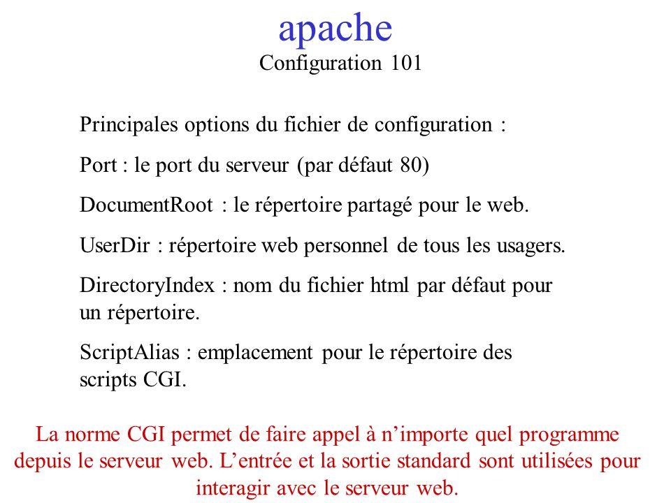 apache Configuration 101 Principales options du fichier de configuration : Port : le port du serveur (par défaut 80) DocumentRoot : le répertoire part