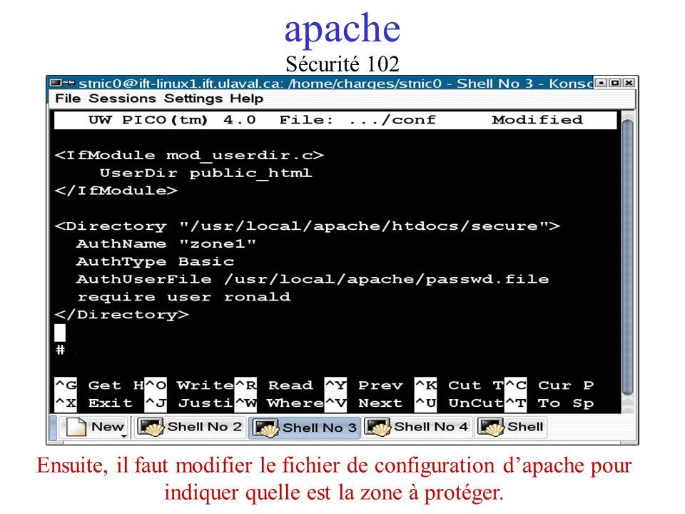 apache Ensuite, il faut modifier le fichier de configuration dapache pour indiquer quelle est la zone à protéger. Sécurité 102