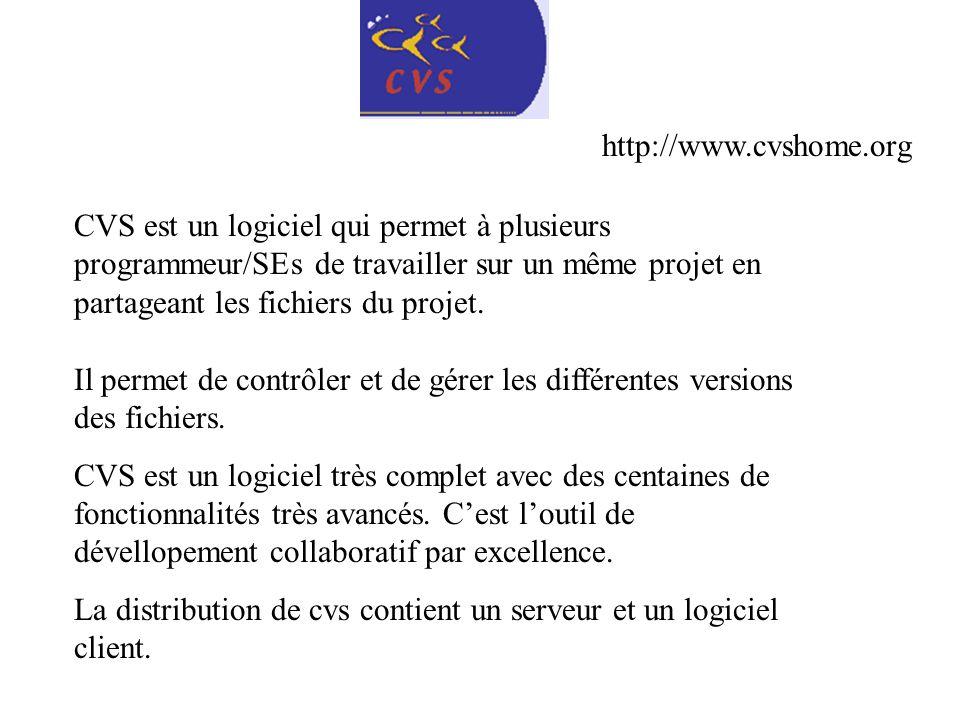 http://www.cvshome.org CVS est un logiciel qui permet à plusieurs programmeur/SEs de travailler sur un même projet en partageant les fichiers du proje