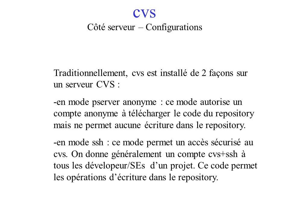 cvs Côté serveur – Configurations Traditionnellement, cvs est installé de 2 façons sur un serveur CVS : -en mode pserver anonyme : ce mode autorise un