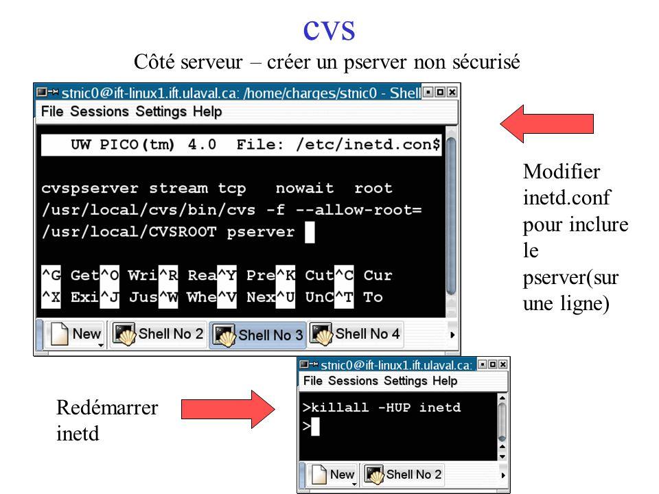 cvs Côté serveur – créer un pserver non sécurisé Modifier inetd.conf pour inclure le pserver(sur une ligne) Redémarrer inetd