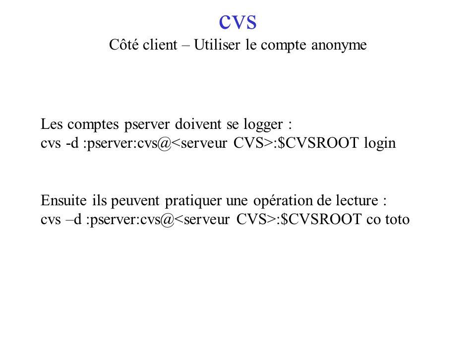 cvs Côté client – Utiliser le compte anonyme Les comptes pserver doivent se logger : cvs -d :pserver:cvs@ :$CVSROOT login Ensuite ils peuvent pratique