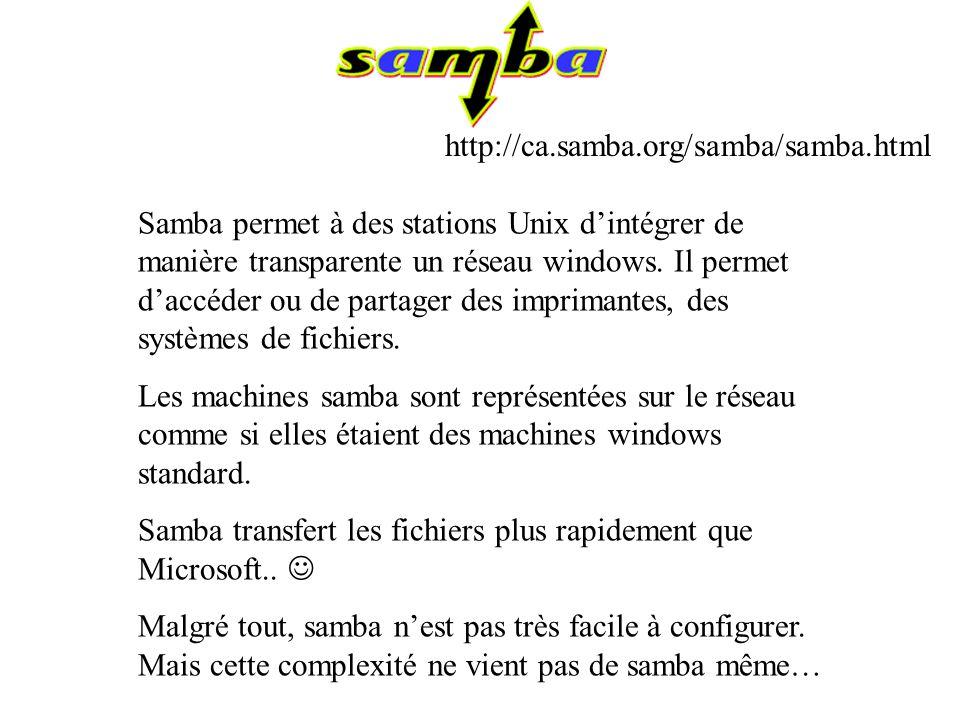 Samba permet à des stations Unix dintégrer de manière transparente un réseau windows. Il permet daccéder ou de partager des imprimantes, des systèmes